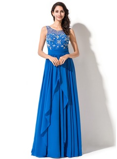 A-Line/Princess Scoop Neck Sweep Train Chiffon Tulle Prom Dress With Beading Sequins Cascading Ruffles