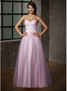 A-Line/Princess Sweetheart Floor-Length Satin Tulle Prom Dress With Lace