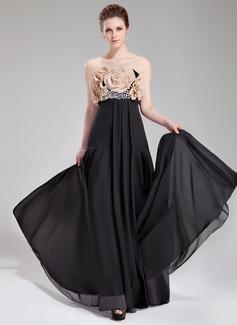 Empire Strapless Floor-Length Chiffon Evening Dress With Beading Flower(s)