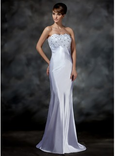 Sheath/Column Sweetheart Sweep Train Charmeuse Wedding Dress With Lace Beadwork (002001615)