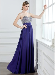 A-Linie/Princess-Linie Herzausschnitt Bodenlang Chiffon Ballkleid mit Rschen Perlen verziert Paillette (018004908)