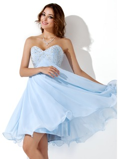 Keizer Sweetheart Knielengte Chiffon Schoolgala Jurken met Kraal (022020904)