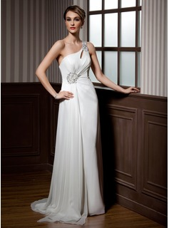 A-Line/Princess One-Shoulder Sweep Train Chiffon Holiday Dress With Ruffle Beading Sequins (020025958)