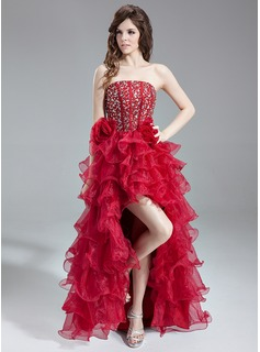 A-Line/Princess Strapless Asymmetrical Organza Satin Prom Dress With Beading Cascading Ruffles