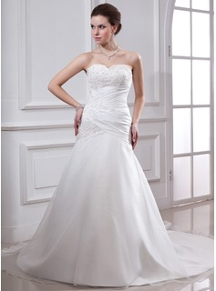 A-Line/Princess Sweetheart Chapel Train Taffeta Organza Wedding Dress With Ruffle Lace Beading