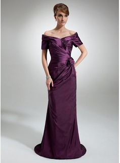 Sheath Off-the-Shoulder Sweep Train Taffeta Mother of the Bride Dress With Ruffle Beading Flower(s) (008006321)