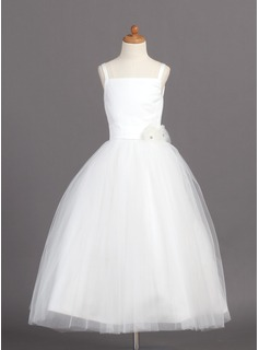 A-Line/Princess Square Neckline Ankle-Length Tulle Flower Girl Dress With Flower(s)