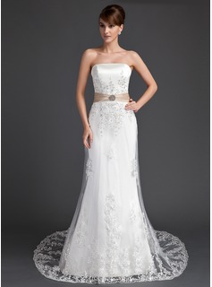 A-Line/Princess Strapless Court Train Satin Tulle Wedding Dress With Lace Sash Crystal Brooch Sequins