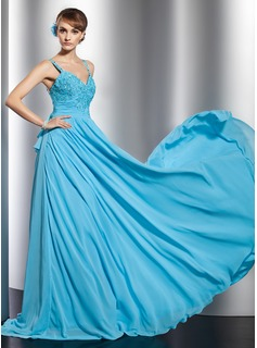 A-Line/Princess Sweetheart Watteau Train Chiffon Evening Dress With Lace Beading Sequins Cascading Ruffles