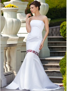 Mermaid Strapless Watteau Train Satin Wedding Dress With Sashes Beadwork Appliques