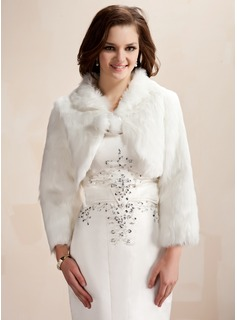 Jackets/Wraps Wedding Feather/Fur Wraps With Long Sleeve (013020425)