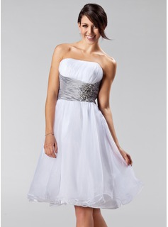 A-Line/Princess Strapless Knee-Length Taffeta Organza Bridesmaid Dress With Ruffle Sash Beading