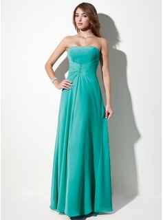 A-Line/Princess Strapless Floor-Length Chiffon Bridesmaid Dress With Ruffle Beading (007001108)