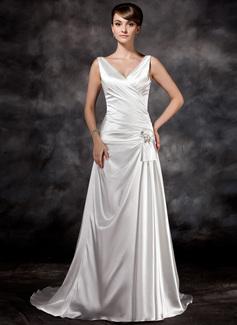 Corte A/Princesa Escote en V Tren de la corte Charmeuse Vestido de novia con Volantes Bordado Lentejuelas