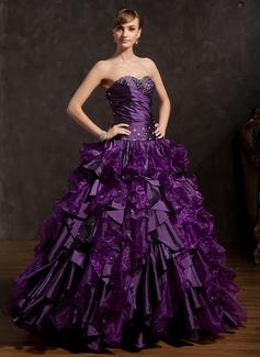 Corte de baile Escote corazón Vestido Tafetán Organdí Vestido de quinceañera con Bordado Cascada de volantes