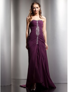 A-Line/Princess Sweetheart Sweep Train Chiffon Prom Dress With Ruffle Beading Split Front