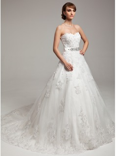 Ball-Gown Sweetheart Chapel Train Tulle Charmeuse Wedding Dress With Lace Beadwork