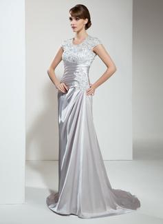 A-Linie/Princess-Linie U-Ausschnitt Hof-schleppe Charmeuse Spitze Kleid für die Brautmutter mit Rüschen Perlen verziert Pailletten
