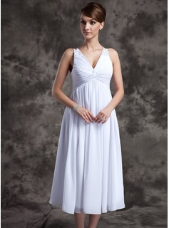 A-Line/Princess V-neck Tea-Length Chiffon Mother of the Bride Dress With Ruffle Beading (008014979)
