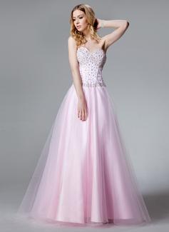 Vestidos princesa/ Formato A Coração Chá comprimento Cetim Tule Vestido quinceanera com Bordado