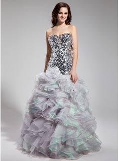 Mermaid Sweetheart Floor-Length Organza Sequined Prom Dress With Beading (018018898)