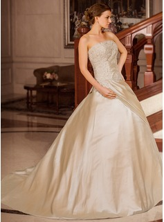 Ball-Gown Strapless Court Train Taffeta Wedding Dress With Ruffle Beading Appliques Lace
