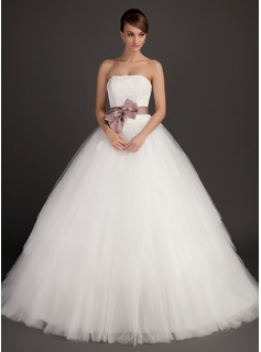 Ball-Gown Strapless Sweep Train Satin Tulle Wedding Dress With Sash Appliques Lace Bow(s)