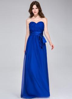 A-Line/Princess Sweetheart Floor-Length Chiffon Charmeuse Bridesmaid Dress With Ruffle Bow(s)