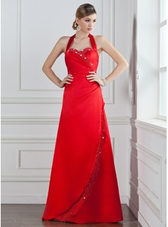 A-Line/Princess Halter Floor-Length Satin Bridesmaid Dress With Ruffle Beading