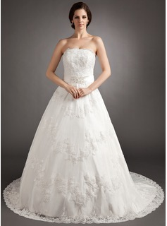 A-Line/Princess Strapless Chapel Train Satin Lace Wedding Dress With Sashes Beadwork (002012218)