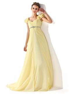 Empire V-neck Sweep Train Chiffon Prom Dress With Ruffle Beading
