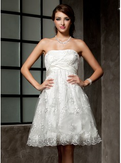 Empire Strapless Knee-Length Satin Lace Wedding Dress With Ruffle Beadwork (002000221)
