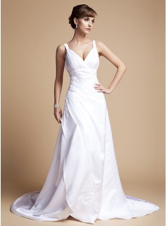 A-Line/Princess V-neck Court Train Satin Wedding Dress With Ruffle Lace Beading