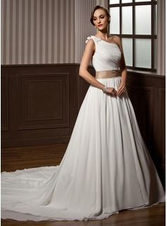 A-Line/Princess One-Shoulder Chapel Train Chiffon Charmeuse Wedding Dress With Ruffle Sashes Beadwork Flower(s)