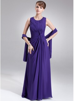 Vestidos princesa/ Formato A Decote redondo Longos De chiffon Vestido para a mãe da noiva com Pregueado
