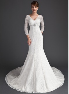 Mermaid V-neck Chapel Train Satin Lace Wedding Dress With Beadwork
