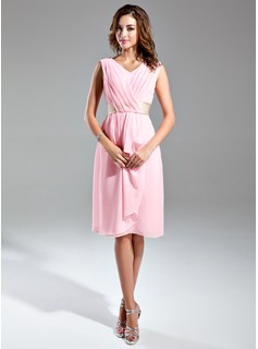 A-Line/Princess V-neck Knee-Length Chiffon Satin Bridesmaid Dress With Sash Cascading Ruffles