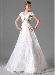 A-Line/Princess Square Neckline Chapel Train Satin Lace Wedding Dress With Sash Crystal Brooch Bow