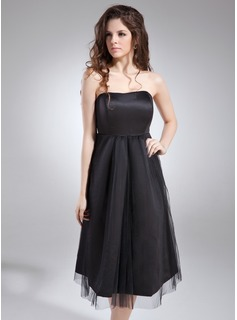 Empire Sweetheart Knee-Length Satin Tulle Maternity Bridesmaid Dress With Ruffle (045004405)