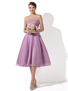 A-Line/Princess Strapless Knee-Length Organza Bridesmaid Dress With Ruffle (007001109)