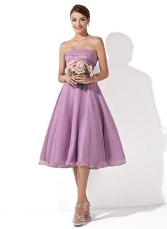 A-Line/Princess Strapless Knee-Length Chiffon Bridesmaid Dress With Ruffle