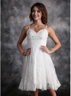 A-Line/Princess Sweetheart Knee-Length Organza Satin Wedding Dress With Ruffle Lace Beadwork (002004479)
