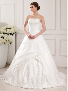 Ball-Gown Strapless Chapel Train Organza Charmeuse Wedding Dress With Lace Beading