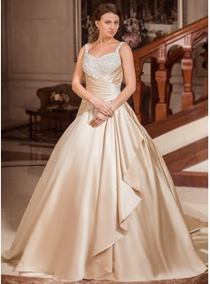Ball-Gown Sweetheart Court Train Satin Wedding Dress With Ruffle Lace Beadwork