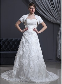 A-Line/Princess Sweetheart Chapel Train Charmeuse Lace Wedding Dress With Beadwork (002000310)