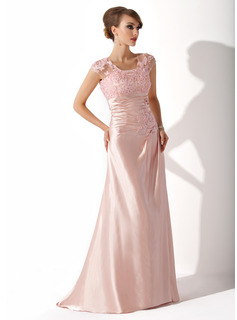 A-Line/Princess Scoop Neck Sweep Train Charmeuse Lace Mother of the Bride Dress With Ruffle Beading Sequins