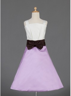 A-Line/Princess Square Neckline Knee-Length Satin Flower Girl Dress With Ruffle Sash