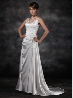 A-Line/Princess V-neck Court Train Charmeuse Wedding Dress With Ruffle Beadwork Sequins (002011434)