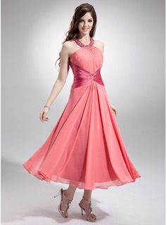 A-Line/Princess Scoop Neck Tea-Length Chiffon Charmeuse Bridesmaid Dress With Ruffle Beading Sequins
