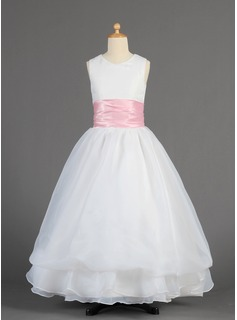 A-Line/Princess Scoop Neck Floor-Length Organza Charmeuse Flower Girl Dress With Sash